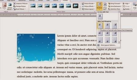 posisi gambar di kiri atas dokumen