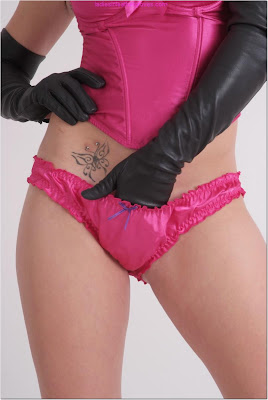 Leather Gloved Hand in her hot pink panties
