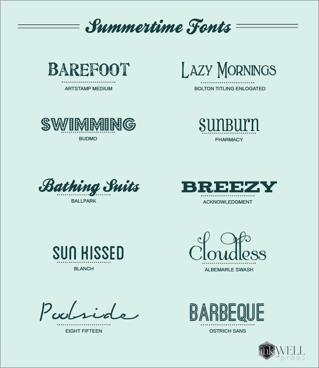 FREE downloadable fonts. Perfect for summer BBQ or pool party invites.