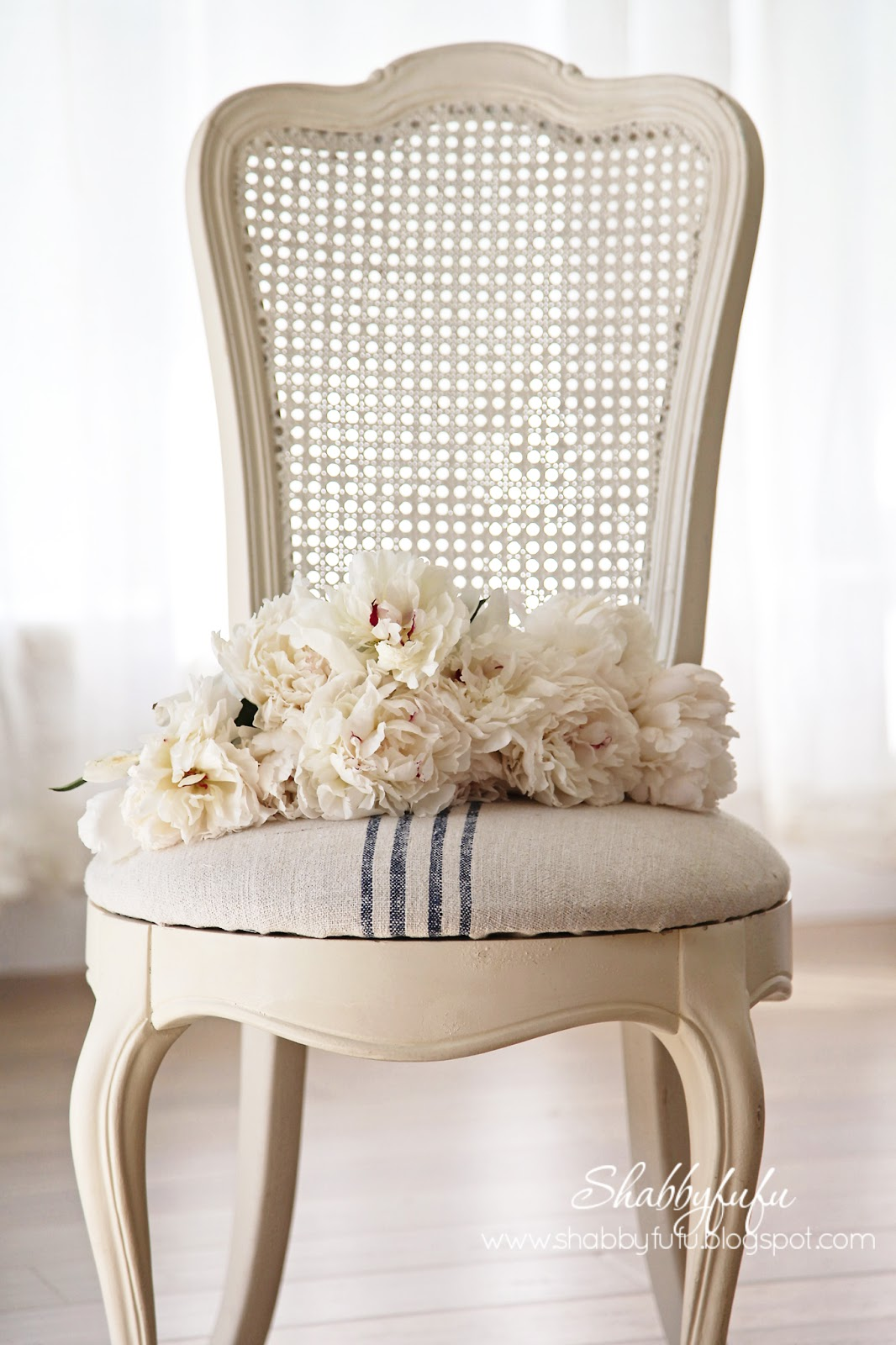 French Cane Chair Peonies