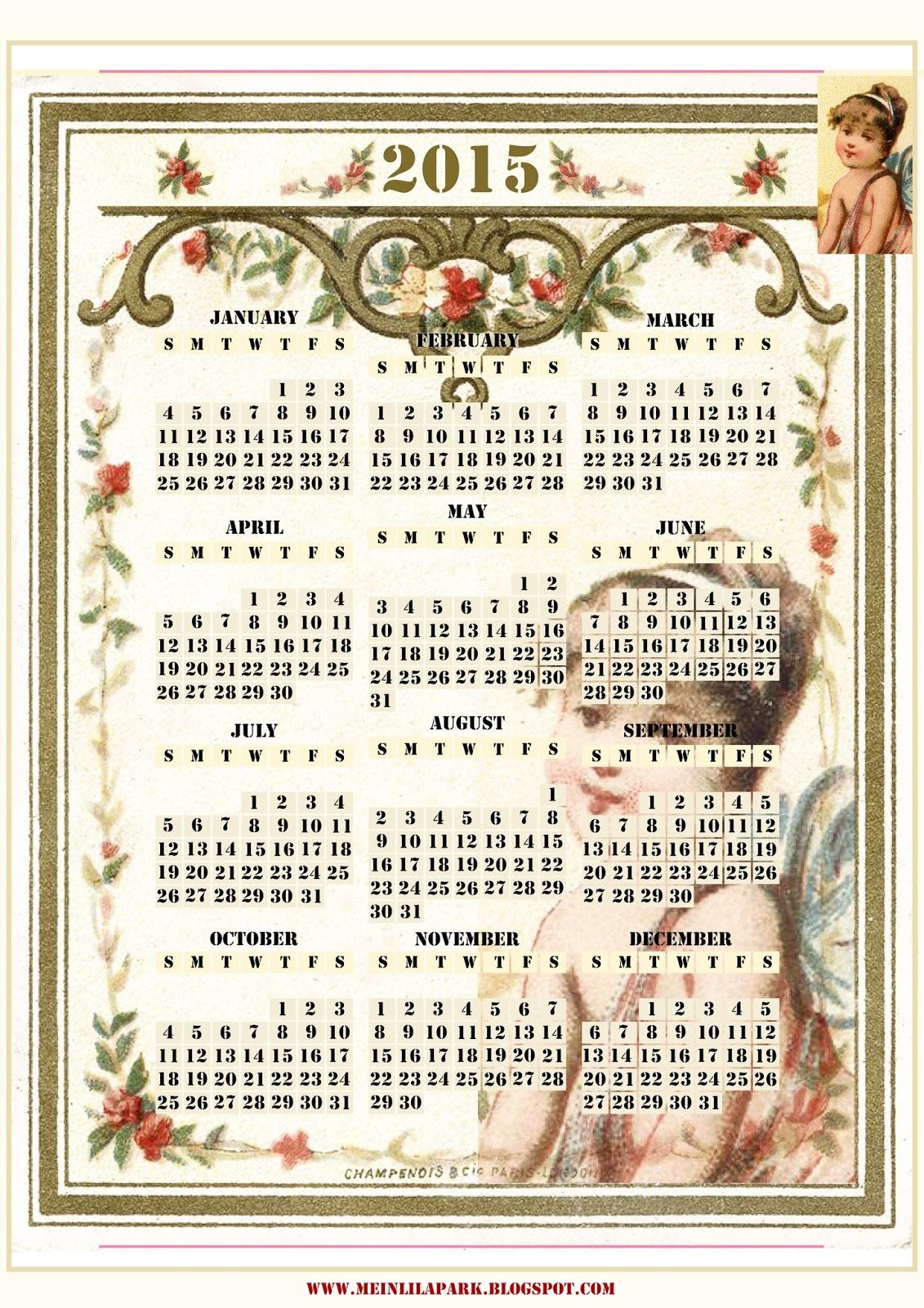 Calendar Vintage 2015 : Free printable vintage calendar ausdruckbarer