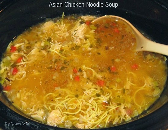 Slow Cooker full of Asian Chicken Noodle Soup