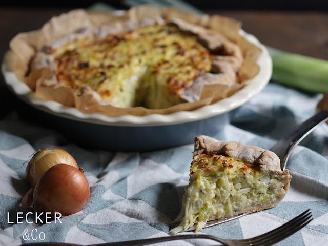 Zwiebelkuchen, Lauchkuchen. Quiche, vegetarisch, Zwiebeln, Lauch, Schmand, Eier, Brottteig, Fenchel, Kümmel, Pfeffer, Tarte,