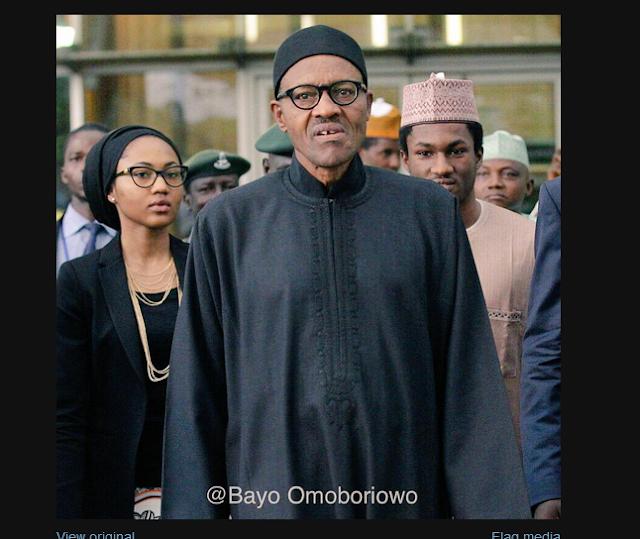 Buhari and his children at Abuja airport