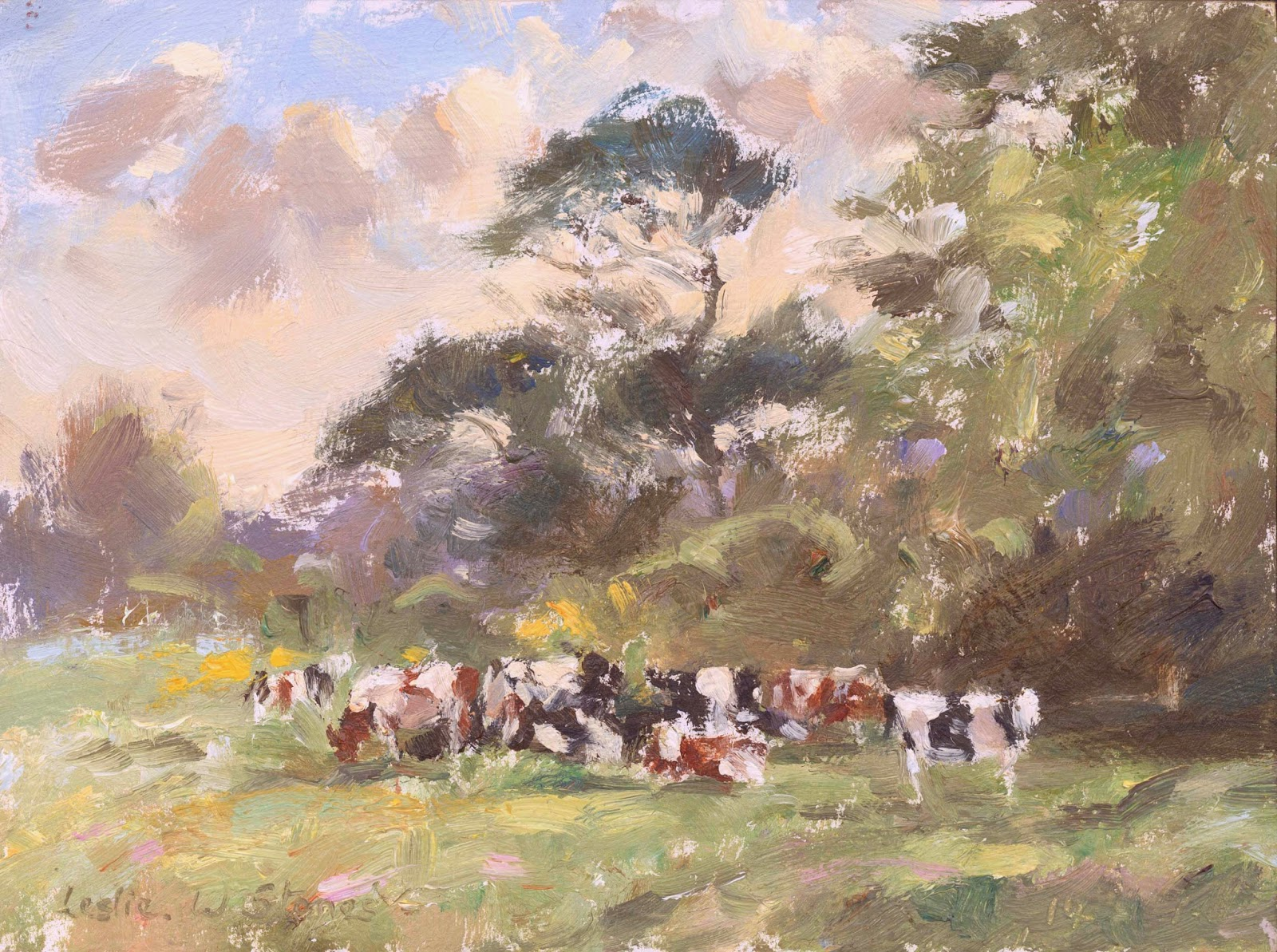 oil painting of cattle grazing beneath the trees.