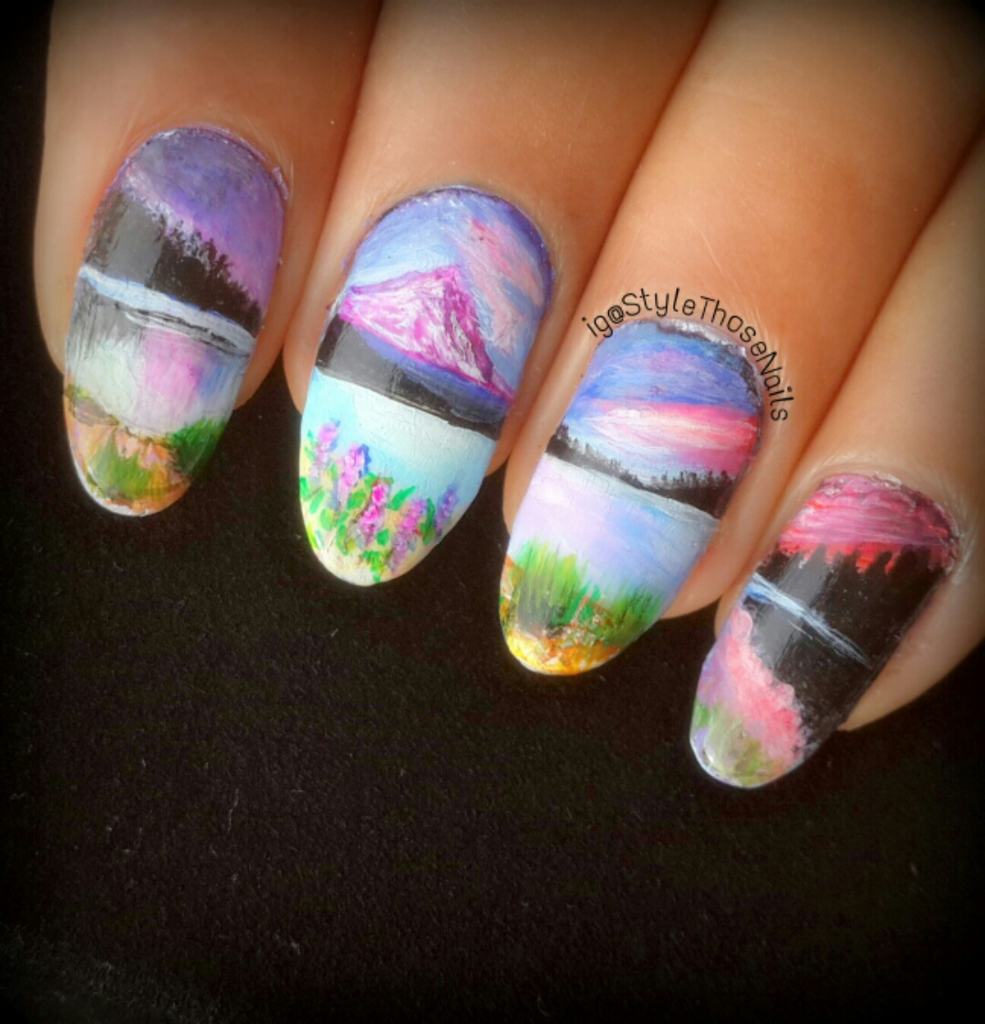 PiggieLuv: Wide open landscape nail art, miniature painting