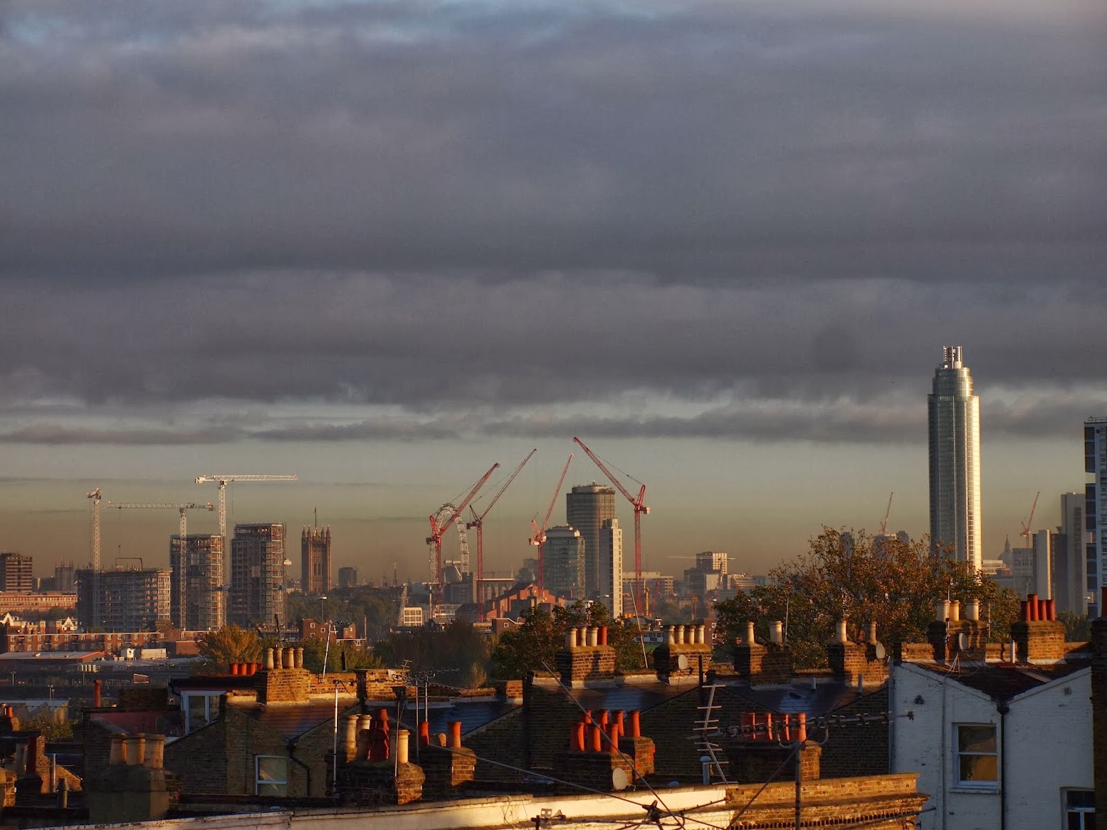 Nine Elms from my bedroom window: au revoir, view of Westminster, hello the new cuboid US embassy instead.