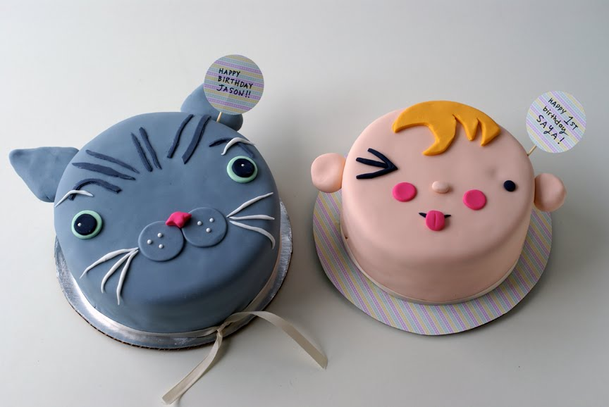 Double Birthday Cuteness Cat Cake Baby Face Cake Coco Cake