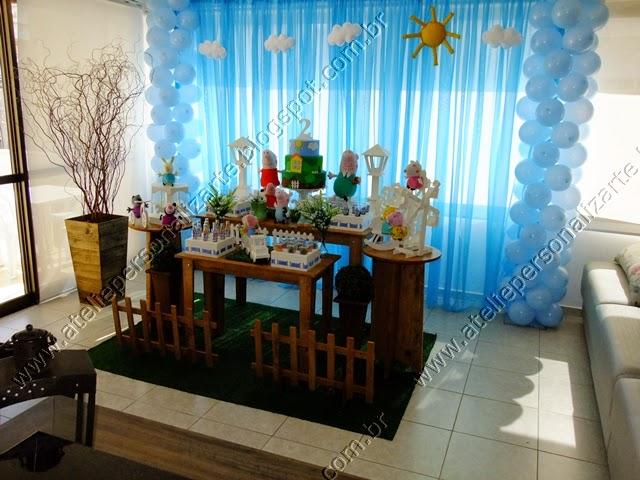 Decoração festa infantil George Pig provençal rústico