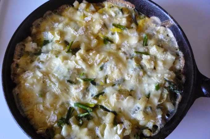 Frittata (with asparagus, potatoes and goat milk cheese)