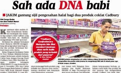 Isu Coklat Cadbury ada DNA babi