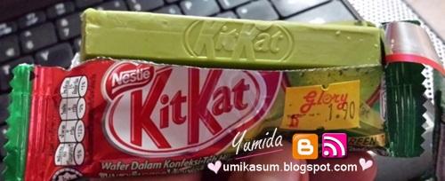 Harga Kit Kat perisa teh hijau, gambar Kit Kat green tea, Kit Kat teh hijau sedap, Kit Kat cokelat warna hijau, Kit Kat wasabi, slogan berehat bersama kit kat
