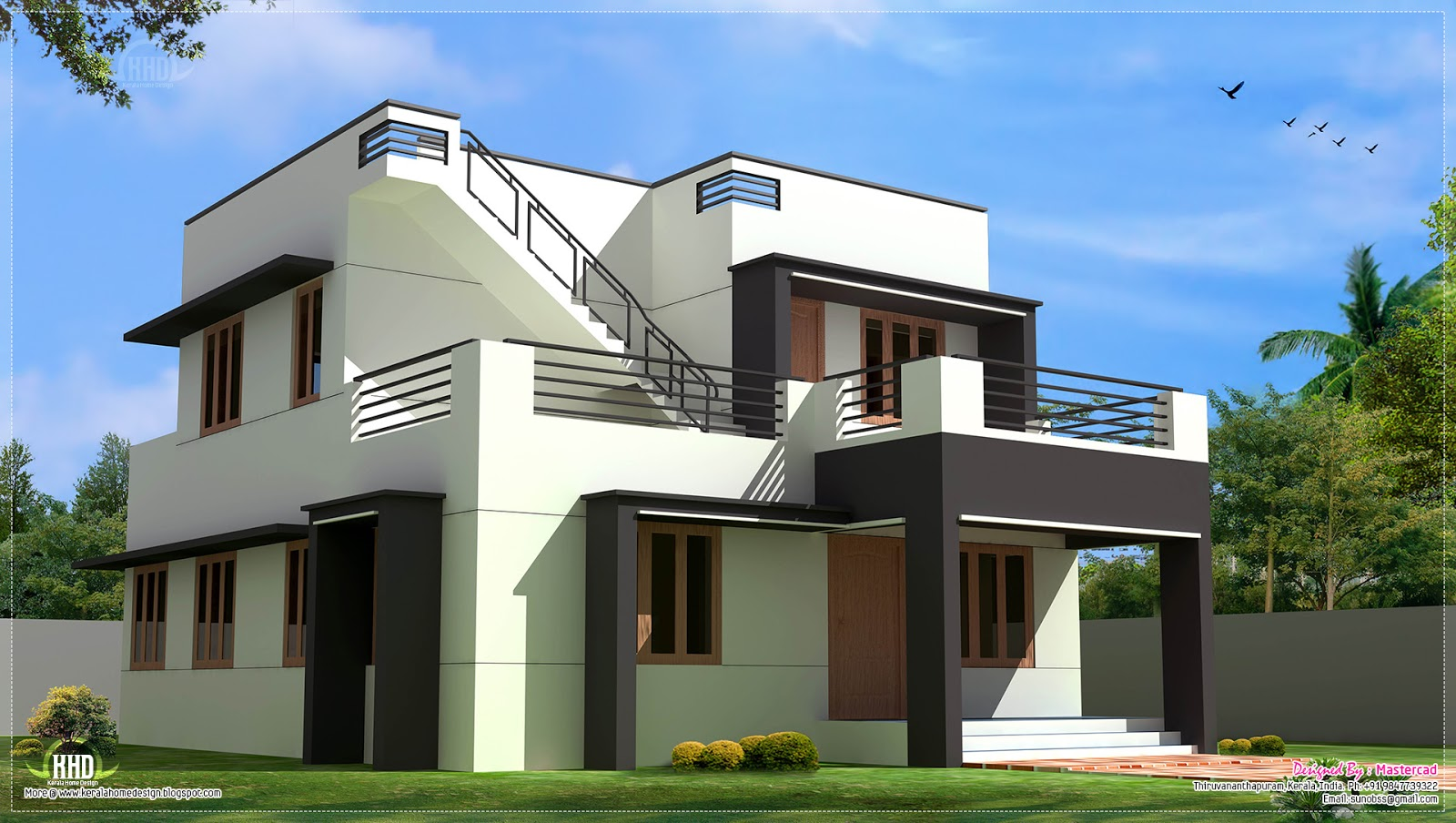 Modern house design in 1700 kerala home design for 4 bedroom modern house plans