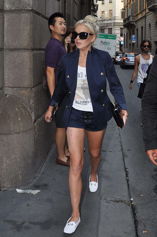 Lindsay Lohan - Leggy Candids in Italy