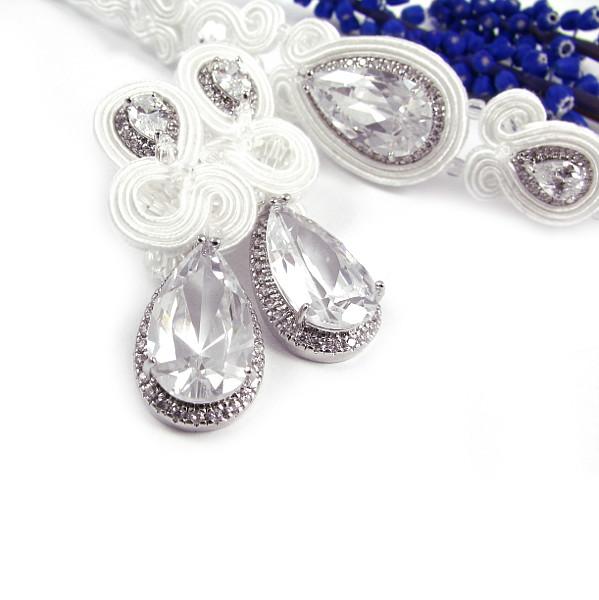 Sutaszowa biżuteria ślubna, kolczyki i bransoletka