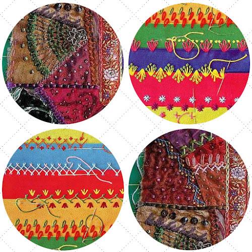 crazy quilt stitches Allie's in Stitches blog trim, ribbon, fabric, textile art