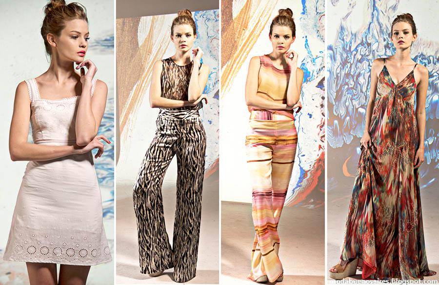 Moda 2015. Mancini primavera verano 2015 vestidos de festa, blusas, palazzos y monos. Moda verano 2015.