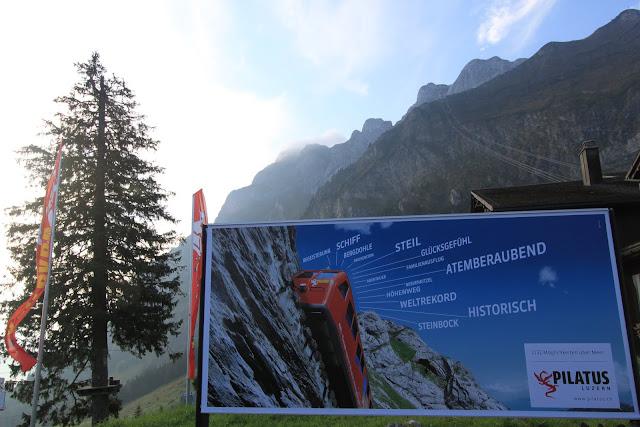 The world's steepest Locher cogwheel railway train at Mount Pilatus in Lucerne, Switzerland