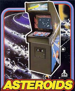 Cartel publicitario con el arcade de Atari Asteroids, 1979, fuente: The Arcade Flyer Archive