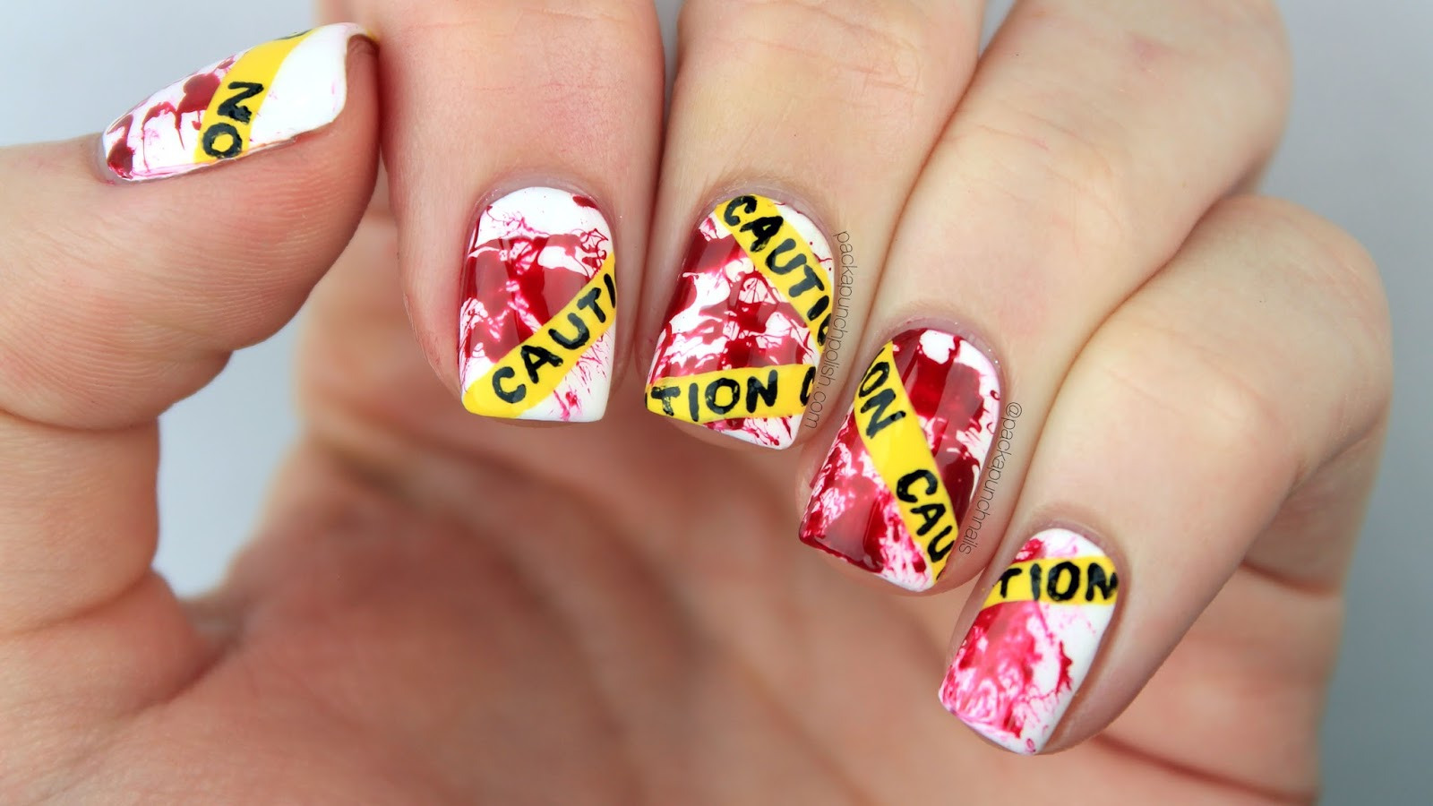 Packapunchpolish caution tape with blood splatter nail art with caution tape with blood splatter nail art with video tutorial prinsesfo Image collections