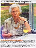 105-jarige Martha Van Beirendonck (1907-2012) overleden