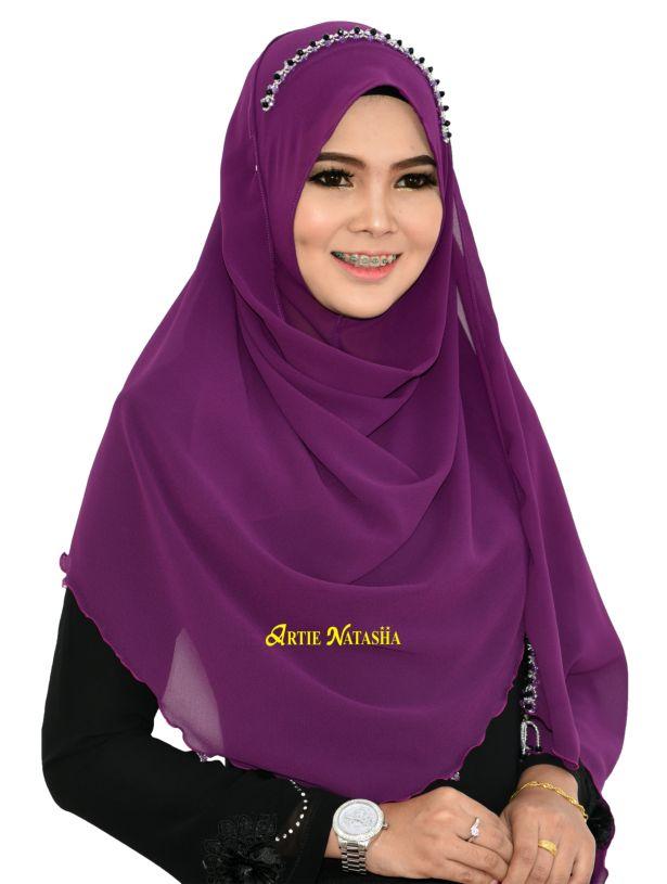 Tudung Natasha Puteri Instant Shawl purple