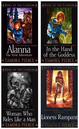 bookcovers of ALANA and the rest of the Song of the Lioness Series by Tamora Pierce