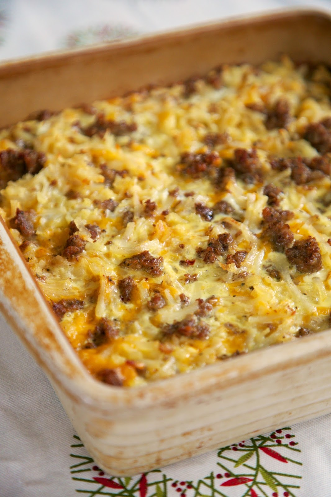 Sausage Hash Brown Breakfast Casserole - hash browns, sausage, eggs ...