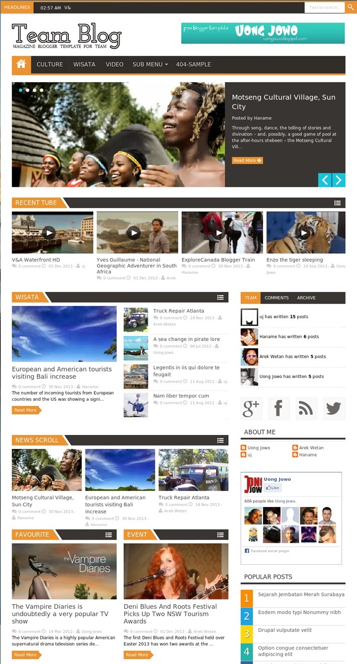 Team Blog Responsive Magazine Blogger Template Free Download