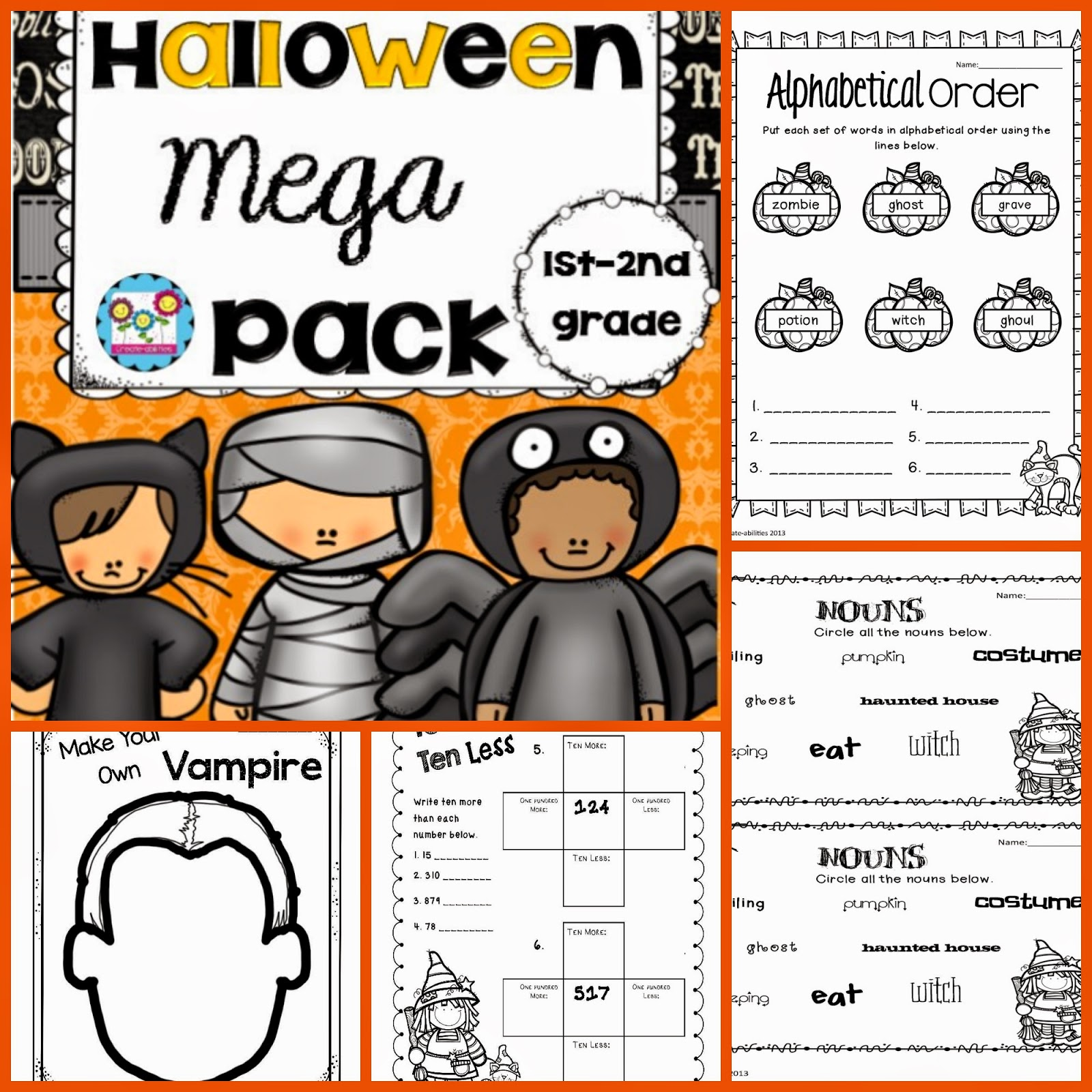 http://www.teacherspayteachers.com/Product/Halloween-Mega-Pack-Language-Arts-Writing-and-Math-Activities-Grade-1-2-1474607