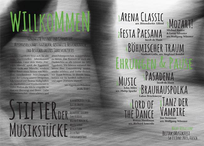 Konzert in Fiesch, 1. Mai 2015, Plakat, Innenseiten, Flyer, Musik Stifter Musikstücke