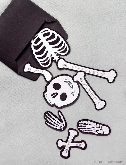 invitación halloween fiesta handmade diy manualidades bones puzzle