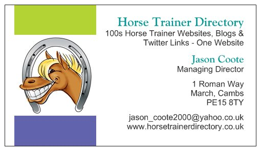 Horse trainer directory horse trainer directory for Horse trainer business cards