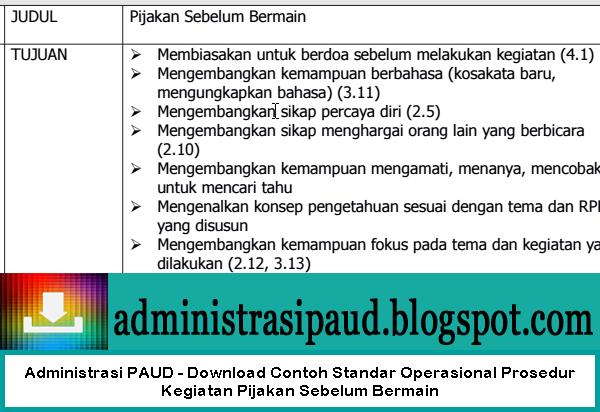 Administrasi PAUD - Download Contoh Standar Operasional Prosedur Kegiatan Pijakan Sebelum Bermain