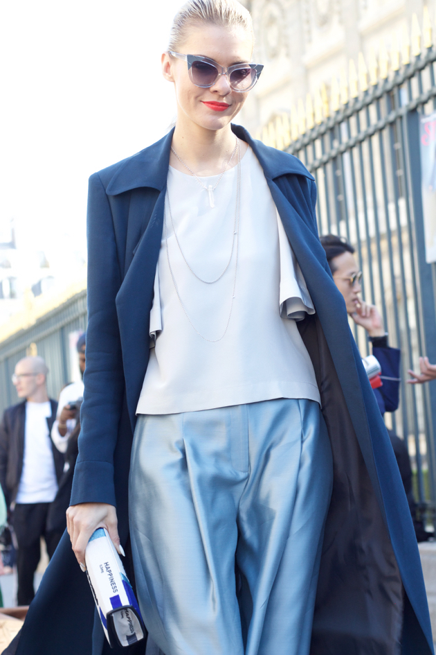 shades of blue, trench, top, satin pants