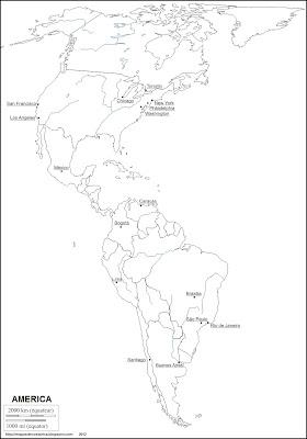 Mapa mudo de America, mapa para pintar de America
