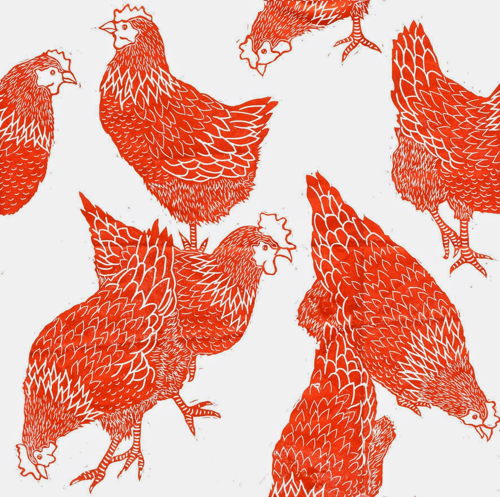 Single hen linocut print