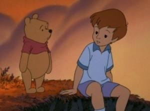 Pooh with boy Many Adventures of WInnie the Pooh 1977 disneyjuniorblog.blogspot.com