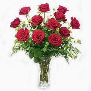 Top Dozen Red Roses in Vase in France