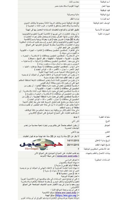 """إعـلان وظائف وزارة النقل """" للمؤهلات العليا والمتوسطة """" متاح لـ 28 / 11 / 2015 - التقديم هنـا"""