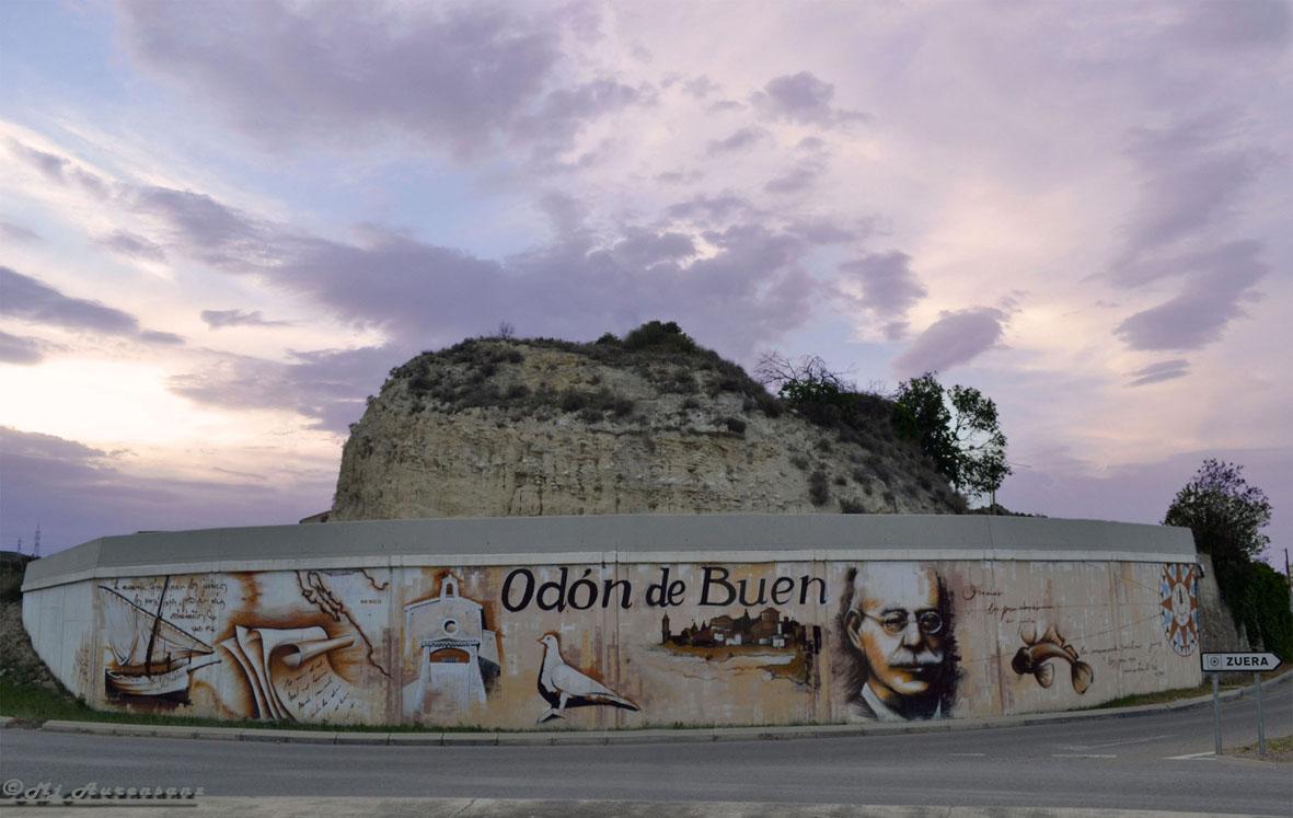 Rotonda Zuera, mural dedicado a Odón de Buen Fotografía realizada por Mj Aurensanz
