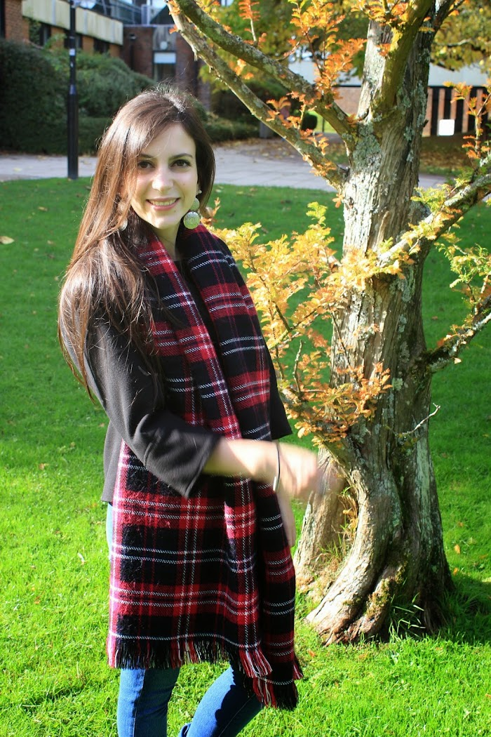 New Look perfect red tartan scarf