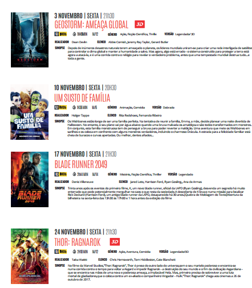 Cartaz Cinema Novembro 2017
