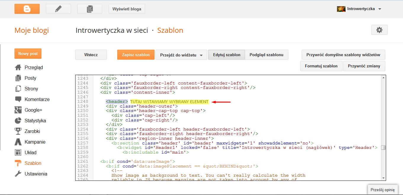 Kod HTML - header