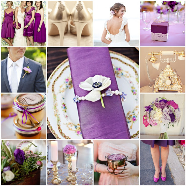 purple pink gold wedding