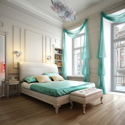 Aqua blue bedroom Spalnya