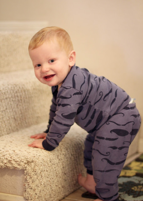Grandson Myles Thinking About Climbing the Stairs