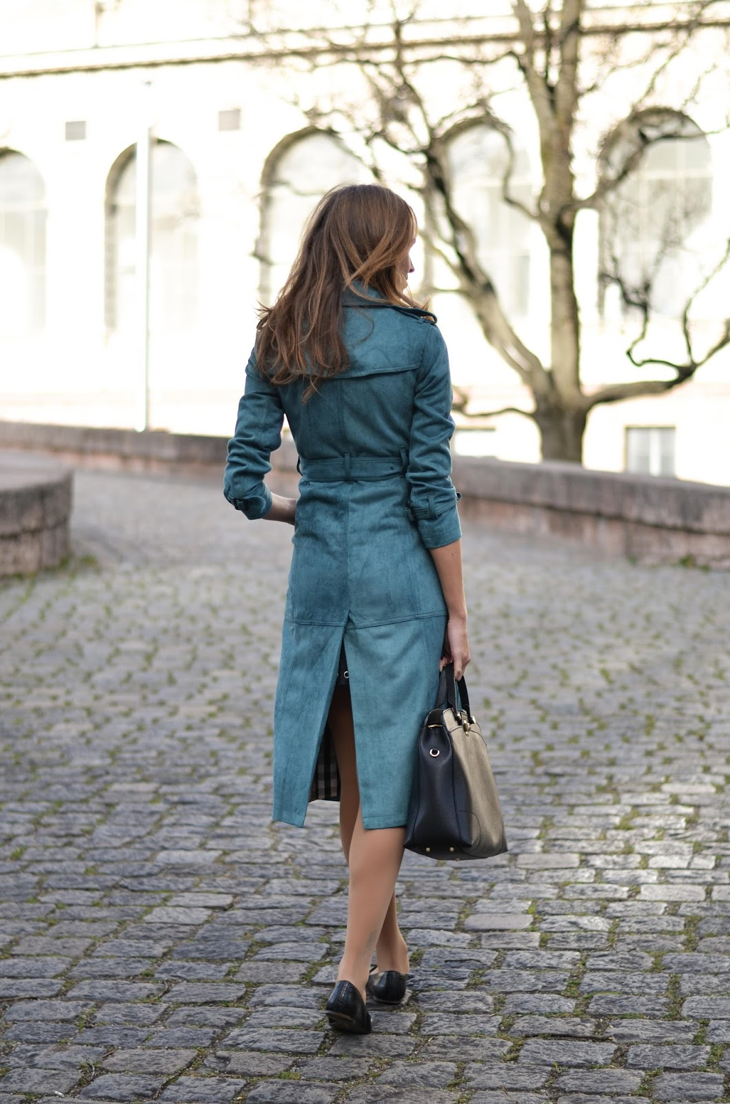 kristjaana mere blue faux suede coat fall fashion