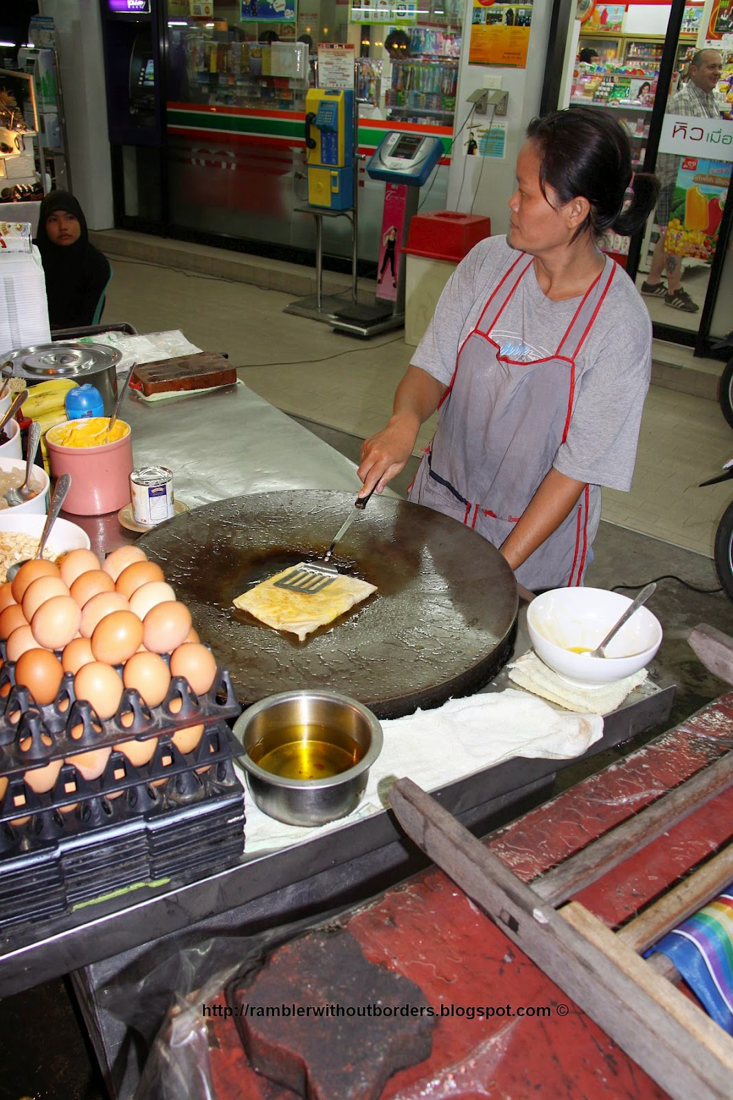 Street vendor selling Thai banana crepes, Pattaya, Thailand