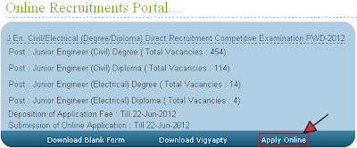Rajasthan PWD JE Recruitment 2012 Online Form